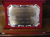 La targa del premio Giuditta Nanci