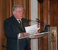 Il senatore a vita Sergio Pinifarina durante il suo intervento